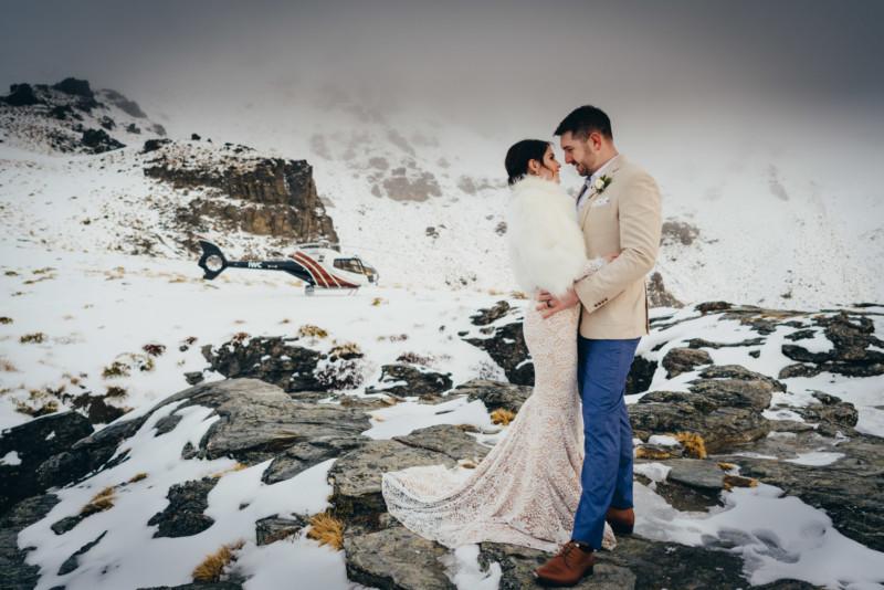 Queenstown winter elopement wedding Cecil Peak
